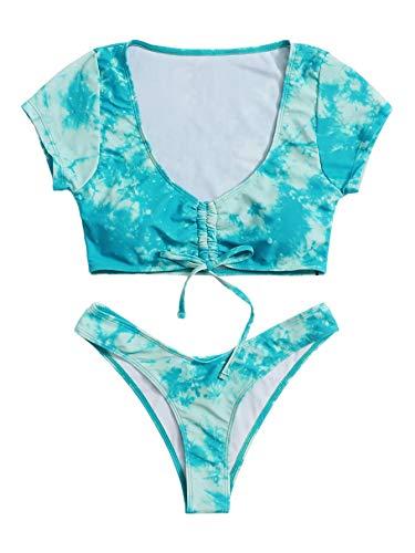 SweatyRocks Damen Sexy Batik-Bikini, Badeanzug, Kordelzug, Knoten, Badebekleidung - Blau - Small