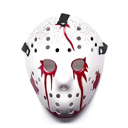 UltraByEasyPeasyStore Halloween Masken Kostüm Eishockey Horror Schaurig Erwachsene Mann Frau Kinder (Blutig)