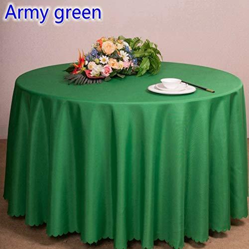 TWTIQ 23 Farben Polyester Tischdecke Tischdecke Tischwäsche Runden Tisch Dekoration Hochzeit Hotel Zeigen Party Armee Grün 260 cm Runde