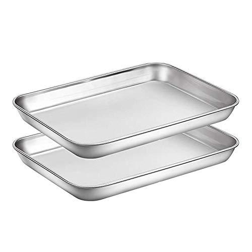2 Stück Backbleche Set Chef Cookie-Blatt Edelstahl Backen Pfannen Toaster Tray Pfannen Easy Clean Backformen Küchen