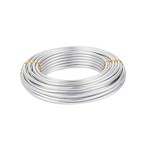Craftdady 32.8 Feet Silver Aluminum Wire 5mm Wide Bendable Metal Craft Wire for DIY Jewelry Crafts Making Dolls Skeleton