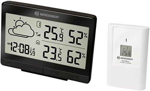 Bresser Wetterstation Funk mit Außensensor Temeo Trend LGX für Temperatur und Luftfeuchtigkeit inklusive Wettertrend-Vorhersage, Funkuhr mit Wecker, schwarz