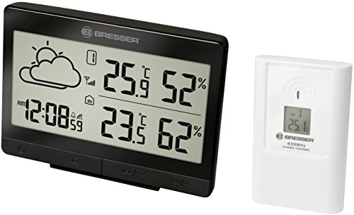 Bresser Temeo Trend LGX Draadloos weerstation, voor temperatuur en luchtvochtigheid, inclusief weersvoorspelling, radioklok met wekker en buitensensor 10.3x5.1x14.1 cm zwart