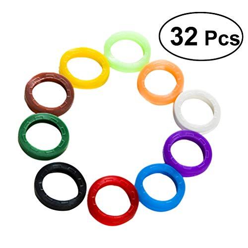 HEALLILY Etiquetas de la tapa de la llave Anillos identificadores de la clave de silicona Anillos identificadores de la clave (color aleatorio)