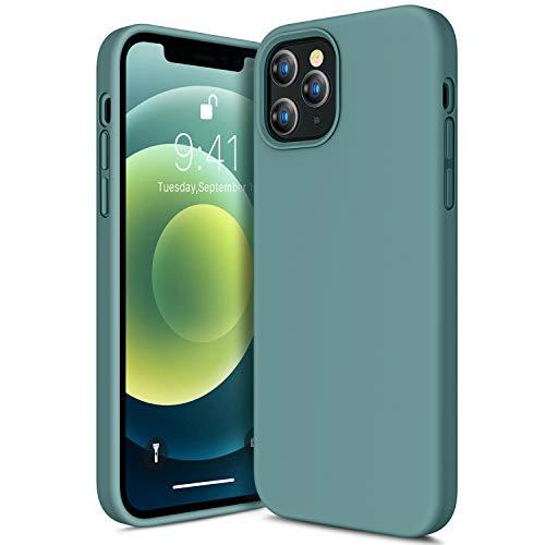 CANSHN Liquid Silikon Hülle Kompatibel mit iPhone 12 und 12 Pro 2020, Seidig Weiche Matte Gel Gummi mit Samtiger Microfaserinnenfutter Stoßfest Vollkörperschutz Case Handyhülle Schutzhülle - Nachtgrün