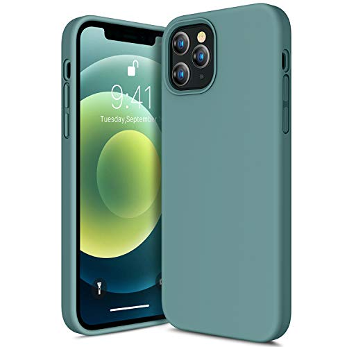 CANSHN Compatible with iPhone 12 Case and iPhone 12 Pro Case 6.1'' 2020, Liquid Silicone Soft Gel Rubber Full Body Protection Shockproof Phone Case Cover - Midnight Green