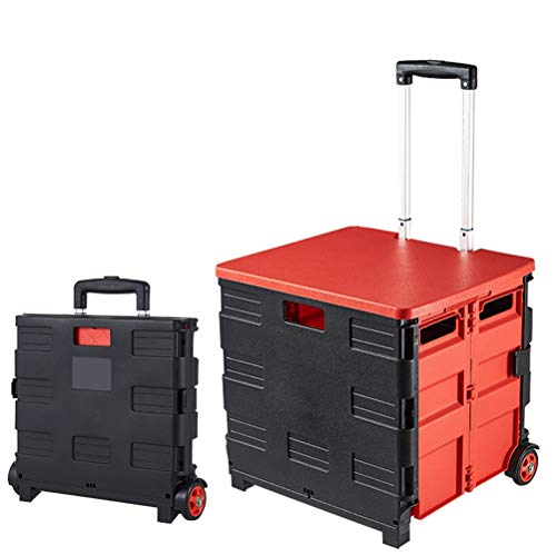 """Foldable Cart Four Wheeled Portable Tools Carrier, Mobile Folding Cart with Lid, for Elderly, Picnic Tools Seat, Supermarket Grocery Shopping Boot Cart Box 16.5X15"""" (Color : Black)"""