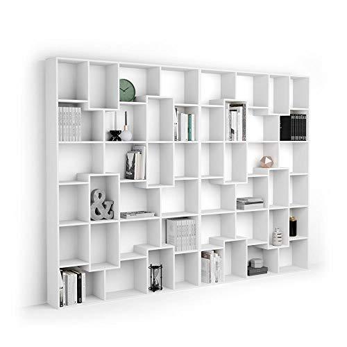 Mobili Fiver, Estantería XL Iacopo (321,6 x 236,4 cm), librería Fresno Blanco, Aglomerado y Melamina, Made in Italy