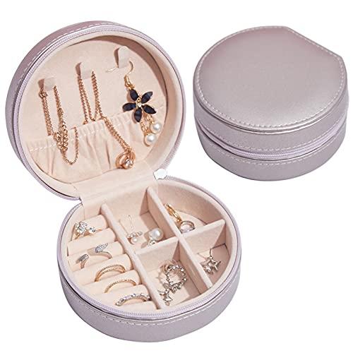CFSYS Mini Organizador de Caja de joyería Estuche de Almacenamiento de Viaje de PU portátil Impermeable y fácil de Limpiar Collares para Regalos de Mujer