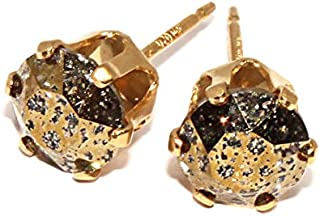 14Kt Gold Filled Round Stud Earrings with Swarovski Xirius Crystal Gold Patina 6mm