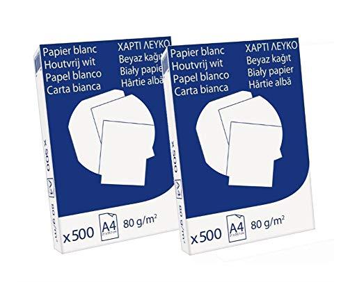 Pack 1000 Folios Papel A4 80gr Blanco. Valido para todas las impresoras y fotocopiadoras.