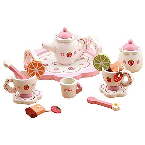 GaoF Juego de Cocina para niños Juego de té de Madera Duradero para niños Juego de té para niños con Tazas de té Teteras Platillos Cucharas Juegos de Cocina (Color: Rosa)
