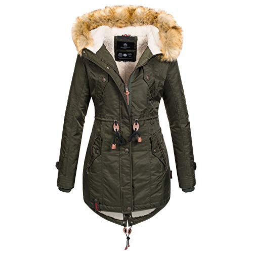 Navahoo warme Damen Winter Jacke Teddyfell Winterjacke Parka Mantel B399 [B399-Grün-Gr.XS]