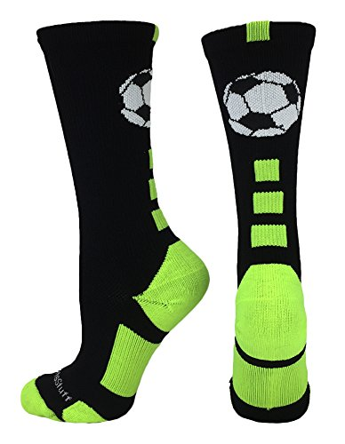 MadSportsStuff Soccer Ball Crew Socks (Black/Electric Green, Medium)