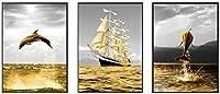 現代の抽象的な海の風景帆船ゴールデンオーシャンライフイルカの壁アートキャンバスポスタープリント写真リビングルームの装飾3個40x60cmフレームなし