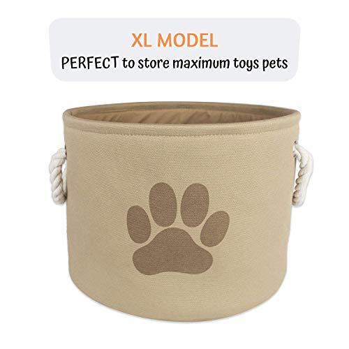 Foxyassort Korb für Spielzeug von Hunde, Katzen und Kaninchen (Bälle, Bürste, Plüschtiere, Einstreu, Futter.) Stabiler Hundekorb Auf und Zusammenklappbar - Leicht zu Transportieren und zu Reinigen