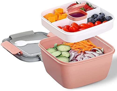 Lunch Box avec 3 Compartiment, Salade Boîtes Repas Adultes / Enfants, Salade Boîte Bento Anti-fuite, Passe au Micro-ondes, Sans BPA, Pink