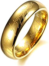 6mm Unisex Engraved Ring Gold Plated , LORD OF THE RING - Size - 9 خاتم عرض 6 مم لون ذهبي