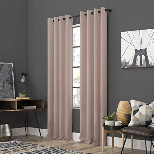 "Sun Zero Soho 2-Pack Energy Efficient Blackout Grommet Curtain Panel Pair, 54"" x 84"", Blush Pink"