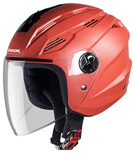 Steelbird SBA-6 Hook Dashing Open Face Helmet (Medium 580 MM, Dashing Red...
