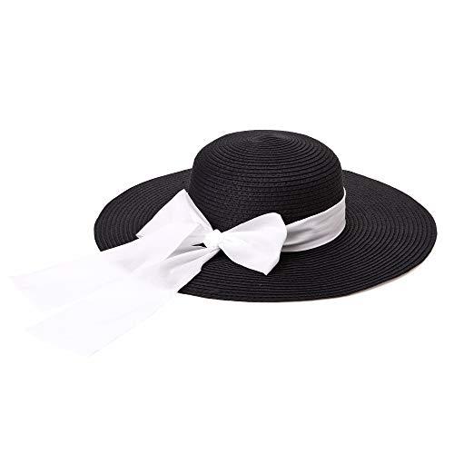 Michael Heinen - Cappello estivo da donna, stile cappello di paglia, con tesa larga nero/bianco Taglia unica