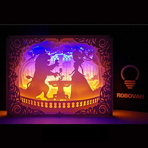 APXZC Light and Shadow Paper Carving Table Lamp 3D Photo Frame Paper-Cut Night Light Bedside Lamp Creative Holiday Birthday Gift for Children (Color : Cinderella)-Girl and the beast