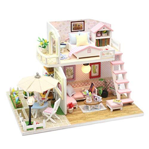 P Prettyia 1:24 Puppenhaus Miniatur DIY Haus Kit kreative Zimmer mit Möbel Spielset Intelligenz Spielzeug - # 9