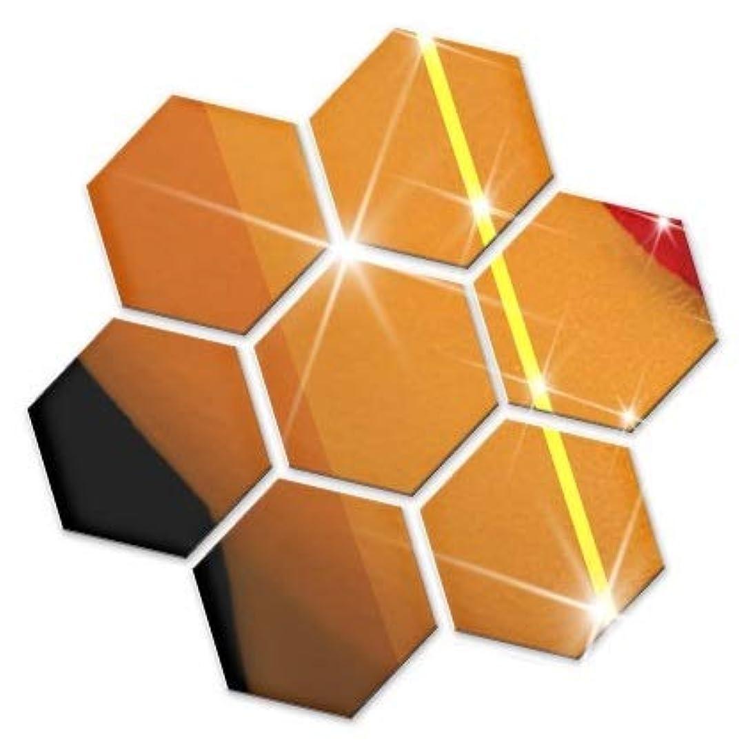製造業熱心流産ウォール ミラー ステッカー 壁 貼り付け 剥がせる 割れない WALL MIRROR STICKER 貼る 鏡 六角形 BIRLD [ ゴールド ] (Lサイズ)