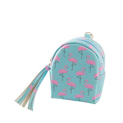 Qinlee Mini Münzbörsen und Schlüsselbund Flamingo floral Drucke Kinder Coin Purse Mädchen Quaste Dekor Schlüsselanhänger Geldbeutel (Blau)