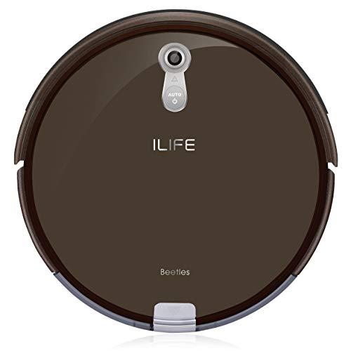 ILIFE A8 – Aspirateur Robot Intelligent avec Navigation Panoramique et Assistant I-Voice – Compact, Léger et Utilisable sur Toutes Les Surfaces – Mokka Brown
