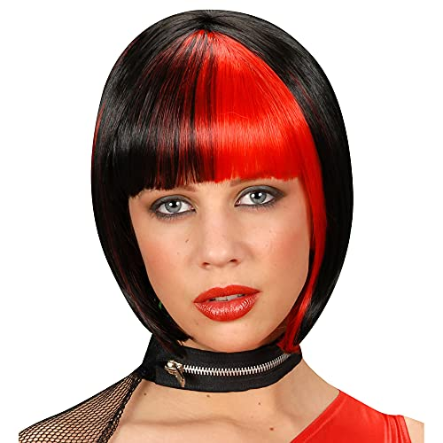 Widmann Zoey Perruque Noir Traité Rouge Accessoire Cheveux Déguisement