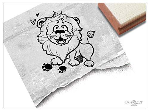 Stempel Tierstempel LÖWE Leopold - Kinderstempel Raubtier Geschenk für Kinder Kita Kinderzimmer Schule Einschulung Schultüte Basteln - zAcheR-fineT (groß ca. 37 x 39 mm)