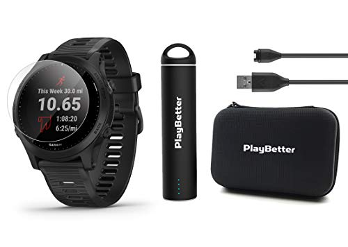 Garmin Forerunner 945 (Black) Power Bundle | +HD Screen Protectors (x4), PlayBetter Portable Charger & Protective Case | Spotify/Music, Advanced Analytics, Maps, Garmin Pay | GPS Running Watch