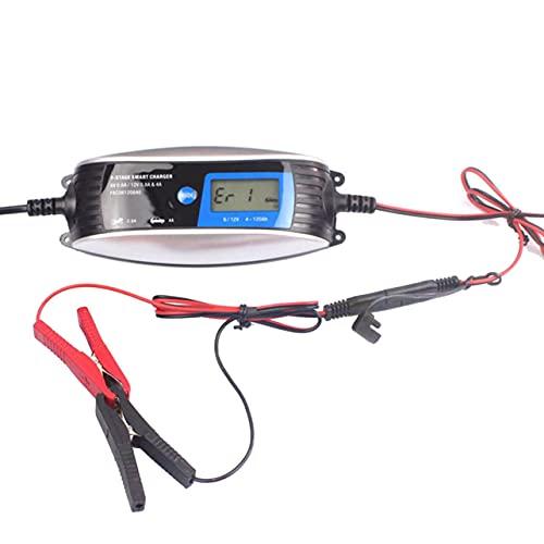MARSPOWER 6V 12V 0.8A 4A Cargador de batería para automóvil de Motocicleta Cargador de Plomo ácido de 7 etapas Cargador Inteligente a Prueba de Agua Carga automática - Blanco y Negro EU