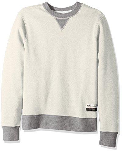 Champion Men's Authentic Originals Sueded Fleece Sweatshirt, Oatmeal Heather/Oxford Gray, Large