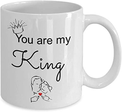 PICOM99 Eres mi Rey Tazas Regalos Mejores Amigos para Siempre Día de San Valentín BFF Taza de café Té para él Sus Hombres Hombre Mujer Hombre Divertido