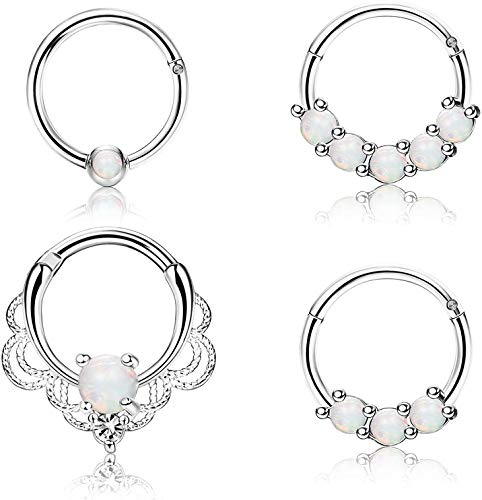 Adramata 16G Septum Ring Piercing Jewelry Stainless Steel Opal Nose Cartilage Helix Tragus Rook Hoop Daith Earrings