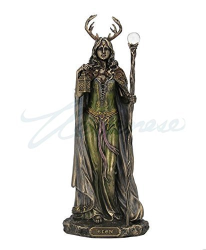 WU Elen of The Ways - Bronze Antlered Goddess of The Forrest Statue Sculpture Figure