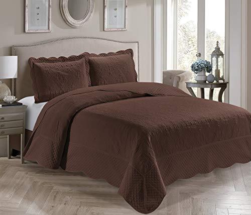 Home Collection Tagesdecke Veronica, 3-teilig, für Doppelbetten, geprägt, einfarbig, Kaffeebraun