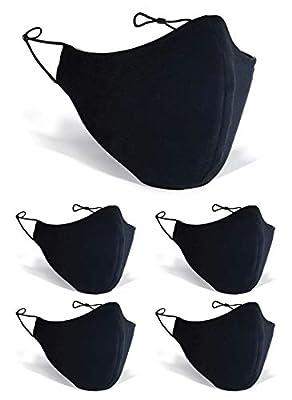 ARCLOGY 5 PCS BLACK FACE MASK Cotton Adjustable 3-Layers with Filter Anti-dust Mouth BLACK FACE MASKS WASHABLE UK REUSABLE Protect 3-Layer Unisex Fashion WASHABLE FACE MASK (BLACK)