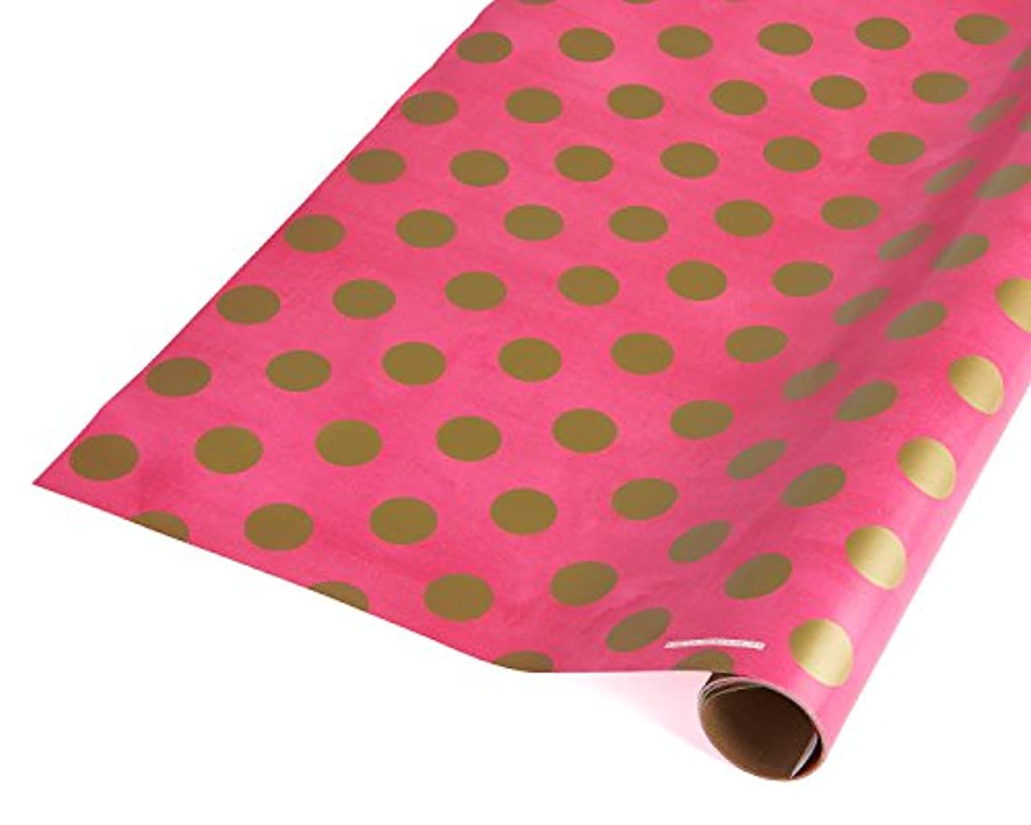 American Greetings Wrapping Paper, Gold Dots on Pink, 22.5 sq. ft. ly218728575114