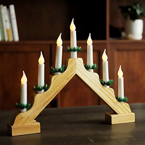 SALCAR LED Adventsleuchter mit 7 Kerzen, gelber Kerzenbogen aus Holz, 7 LED Lichter, Lichtbogen, Dreieckslichtdekoration für Weihnachtsdekoration - warmweiße LED Leuchten