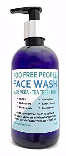 100% natuurlijk gezichtwasgoed, aloë vera, teeuw en munt, 250 ml, van Poo-vrij. Zonder sulfaat, parabenen, kleurstoffen of kunstmatige geurstoffen. Verwijdert onzuiverheden bij alle huidtypes.