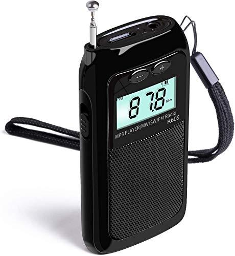 Rádio portátil de ondas curtas FM MW estéreo digital portátil e MP3 player com despertador