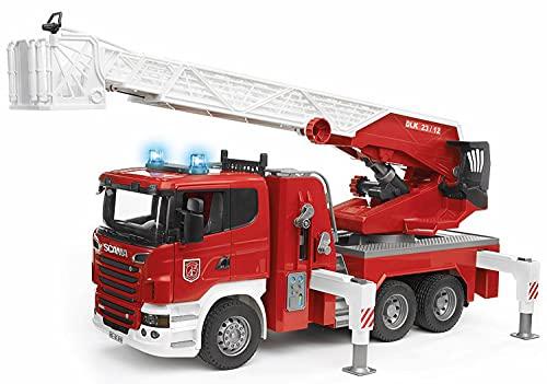 Bruder 03590 - Scania R-Serie Feuerwehrleiterwagen mit Wasserpumpe und Light and Sound Modul, inklusive Batterie