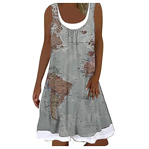 L9WEI Vestido de verano para mujer, informal, para la playa, corto, vintage, sin mangas, estampado, falso, vestido de dos piezas, elegante vestido de verano.