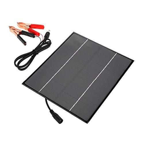 Dilwe El Panel Solar, pequeño Cargador de batería Mono Multifuncional del Panel Solar de 12V 6W para la Actividad al Aire Lib