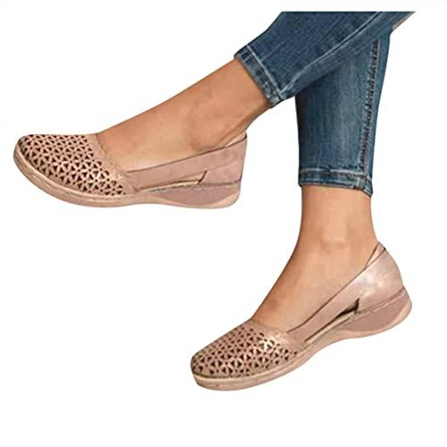 Winging zapatilla de hueca completa Moda zapatos casuales transpirables ocio al aire libre suela gruesa Zapatos de mujer plataforma tacón cuña medio boca pez sandalias con correa trasera baja z