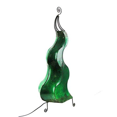 Orientalische Lampe Stehlampe marokkanische Hennalampe Lederlampe Tischleuchte Stehleuchte Orient Mogador Blumenrad 90 cm Color Grün