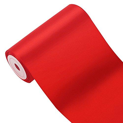 RUSPEPA 100 mm Large Solid Color Double Face Ruban Satin - 4,5 Mètres/Spool (252 Rouge)